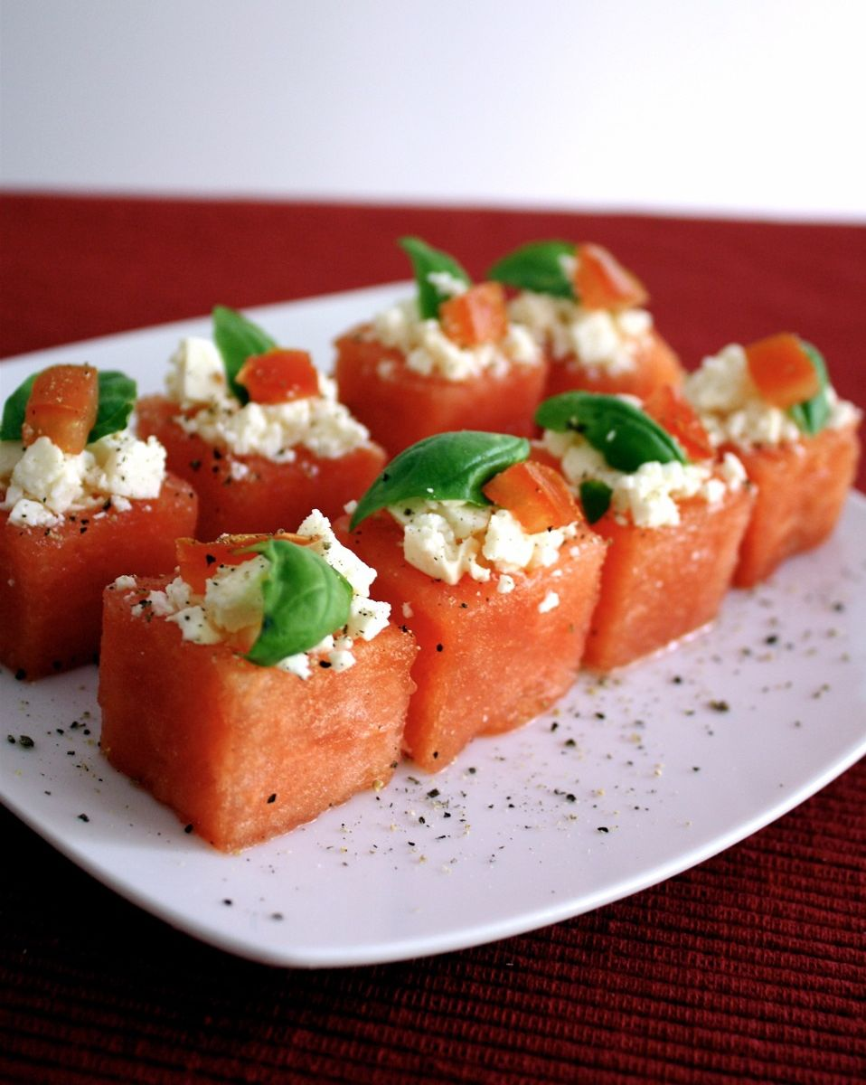 Fill the other half of the melon cubes with feta cheese. Garnish with ...